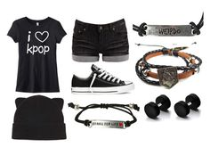 """tag"" by ironically-a-strider21 ❤ liked on Polyvore featuring Pieces, Converse and Forever 21"