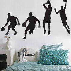 Removable Black Vinyl DIY Basketball Players Shot Silhouette Wall Stickers Murals Decor Shooting Dribble Slam Dunk Wall Decal For Kids Children Babys Boys Men Room Bedroom Livingroom Classroom
