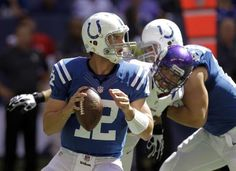 Andrew Luck on his way to his first NFL win at home!