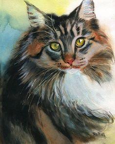 Maine Coon Tabby Cat Art Print of my Watercolor by rachelsstudio: