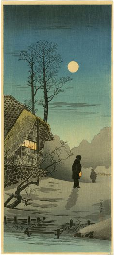 Hiroaki Shotei  - Silhouettes in The Full Moon -  1936  (woodblock)