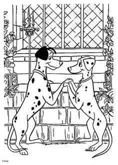 Un joli coloriage des 101 Dalmatiens. Viens colorier deux jolis dalmatiens amoureux. Un coloriage pour tous les enfants fans des dessins animés Disney.