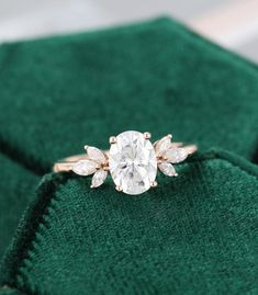 Dream Engagement Rings, Rose Gold Engagement Ring, Vintage Engagement Rings, Vintage Rings, Flower Shaped Engagement Ring, Different Engagement Rings, Unconventional Engagement Rings, Marquise Cut Diamond, Diamond Cluster Ring