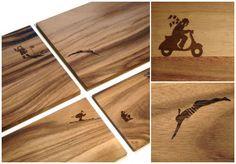 utting boards by Olze & Wilkens  laser engraved illustration