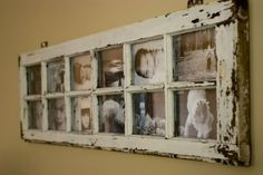 Old window frame with pictures, or paint the glass with Chalkboard paint for a weekly planner!