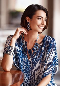 Rock out in brilliant blue jewels.