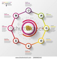 Infographic. Business concept. Colorful octagon with icons. Vector