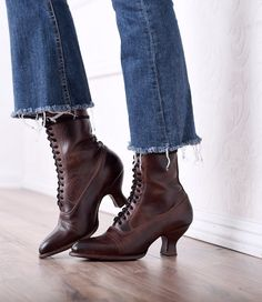 Victorian Shoes Victorian Mid-Calf Leather Boots in Teak Rustic $255.00 AT vintagedancer.com