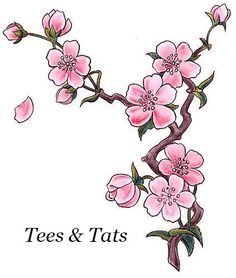 2 Japanese Cherry Blossom Tattoos Temporary by AwesomeAdjustments