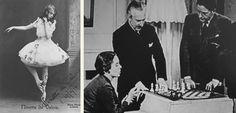 """Ninette de Valois, ballarina de l'estrena de """"Checkmate"""", obra d'Arthur Bliss, el qual ensenya els secrets del joc a Ninette."""
