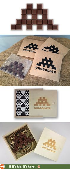 Chocolate Invaders come in a laser engraved wooden box and make a great gift for gamers.