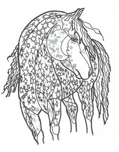 Adult Coloring Book Page From For Adults Horse Equine Art Colouring Download