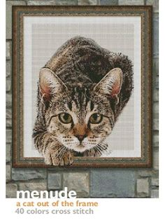 PDF PATTERN $17 BUY https://www.paypal.com/cgi-bin/webscr?cmd=_s-xclick&hosted_button_id=639MHAMKN5HXA a cat out of the frame, 40 colors cross stitch, 200 x 269 stitches. code a1450