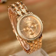 6f0ddef22ab Online Shop Genebra Watch Full aço relógios mulheres vestem Rhinestone  analógicos relógios de pulso dos homens