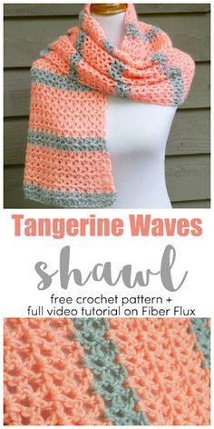 The Tangerine Waves Wrap is modern, fresh, and super soft. Crocheted in an easy v-stitch in fresh modern colors, it is a great ac. # crochet shawls and wraps easy Free Crochet Pattern. Crochet Prayer Shawls, Crochet Shawls And Wraps, Crochet Scarves, Crochet Clothes, Knitted Shawls, Crochet Stitches, Knit Crochet, Crochet Vests, Crochet Cape