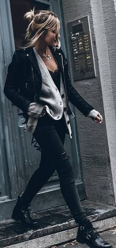 Edgy look | Leather jacket, grey cardigan and distressed pants