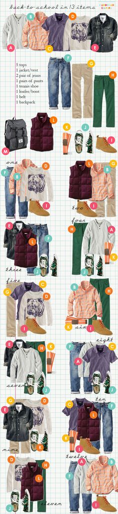 Send your boys back to school with just 13 items of clothing. These are brilliant @Reachel Bagley!