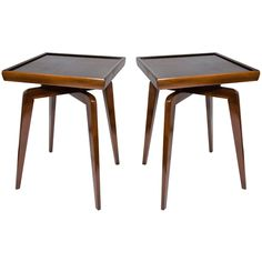 pair of mid century modern walnut wood side tables with spider leg design