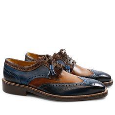 Derby Schuhe Marvin 1 Crust Navy Wood Dark Brown LS