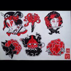 Traditional Japanese Tattoo Flash, Japanese Tattoo Art, Japanese Tattoo Designs, Japanese Sleeve Tattoos, Japanese Painting, Traditional Tattoo, Tattoo Drawings, Body Art Tattoos, Hand Tattoos