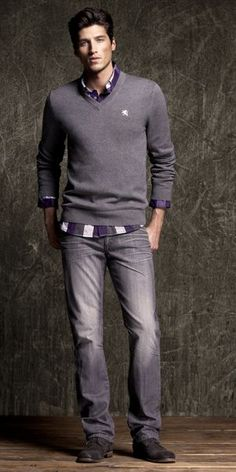 ♂ Masculine and elegance neutral purple grey man's casual wear