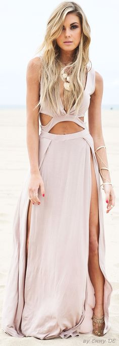 Emmy DE * Layla Cutout High-Slit Maxi Dress