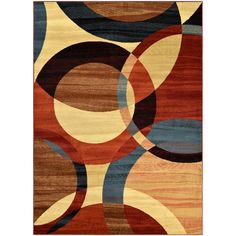 Manhattan Collection Multi-Color Circles Design Area Rug (5'3 x 7'3) - Overstock™ Shopping - Great Deals on 5x8 - 6x9 Rugs