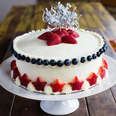 Star-Spangled Strawberry Cake  Nothing says summer like a patriotic cake adorned with delicious fruits of the season. Here is an easy way to make any cake festive this summer!