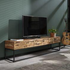 Indo C - TV-bord i massiv akacie træ og tre skuffer. Living Tv, Home And Living, Home Interior Design, Interior Styling, Tv Regal, Wood Tv Unit, Tv Rack, Rack Design, Handmade Furniture