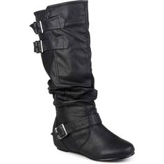 Journee Collection Tiffany Extra Wide Calf Riding Boots (140 CAD) ❤ liked on Polyvore featuring shoes, boots, mid-calf boots, wide calf slouch boots, wide calf flat boots, extra wide calf boots, mid calf slouch boots and flat slouch boots