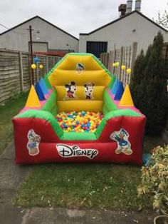 This micky themed ball pool is very popular at younger kids parties .This ball pool comes with 2000 plastic play balls and also features an air jugglers game on the side of This ball pool .