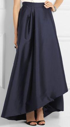 Alberta Ferretti Pleated Wrap-effect Taffeta Maxi Skirt