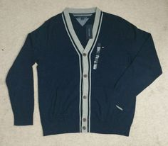 NWT Men's Tommy Hilfiger XLARGE Long Sleeve Tipped Solid Cardigan Sweater Navy #TommyHilfiger #Cardigan