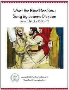 Jesus Heals the Blind Man Song with flipchart Bible Songs, Jesus Heals, Sunday School Lessons, Bible Crafts, Blind, Healing, Ideas, Shutter, Therapy
