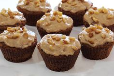 Gluten-free and paleo-friendly Carrot Cake Cupcakes w/Cinnamon-Vanilla Frosting Recipe. Simple and simply delicious with no refined sugars in cake or frosting! (Sub maple syrup for the honey for low-FODMAP) Paleo Sweets, Paleo Dessert, Gluten Free Desserts, Healthy Desserts, Gluten Free Recipes, Paleo Food, Healthy Foods, Delicious Desserts, Yummy Food