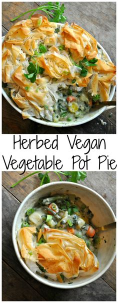 Herbed Vegan Vegetable Pot Pie This is the most delicious vegan pot pie ever! With added herbs, spring veggies and phyllo dough, this is the perfect pot pie for spring and summer! - Herbed Vegan Vegetable Pot Pie - Rabbit and Wolves Veggie Recipes, Whole Food Recipes, Cooking Recipes, Healthy Recipes, Vegan Recipes Vegetables, Pot Pie Recipes, Cooking Vegetables, Veggie Dinners, Cooking Pasta