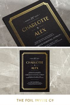 Vintage Wedding Ideas – Art Deco Wedding Invitations in gold foil | A glamorous invitation with art deco style. The bold foil stamped border references the strong architectural details of the 1920's period.  #VintageWedding #WeddingDay #WeddingInvitations #WeddingIdeas Foil Wedding Stationery, Art Deco Wedding Invitations, Wedding Stickers, Save The Date Magnets, Glamorous Wedding, Foil Stamping, Gold Foil, Weddingideas, Invite