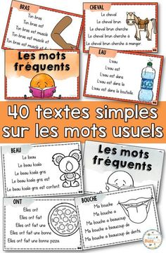 Cartes avec des phrases r�p�titives pour travailler la fluidit� en lecture. 40 mots usuels. Repetitive sentences to work on fluency and sight words in French reading. Ideal for french immersion or early primary french learners. Grade 1 Reading, Reading Fluency, Teaching Reading, German Words, French Words, French Lessons, Spanish Lessons, Teaching French Immersion, French Education