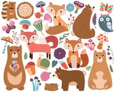 Bosques animales tribales Clipart Vector de por KennaSatoDesigns