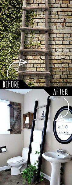 DIY Furniture Hacks |  Ladder Towel Rack  | Cool Ideas for Creative Do It Yourself Furniture | Cheap Home Decor Ideas for Bedroom, Bathroom, Living Room, Kitchen - http://diyjoy.com/diy-furniture-hacks
