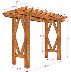 How to build a beautiful DIY pergola ( beginner friendly DIY grape arbor )! Free building plan with step by step drawings and lots of detailed photos. Build it easily for your garden without buying pergola kits! Diy Pergola, Diy Arbour, Building A Pergola, Outdoor Pergola, Wooden Pergola, Pergola Plans, Wedding Pergola, Small Pergola, Pergola Swing