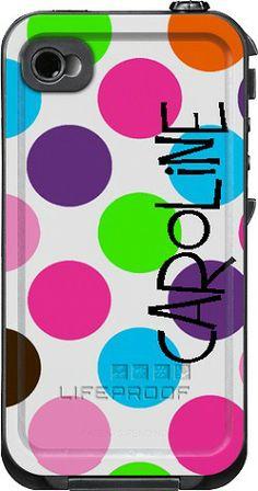 Jumbo Dots Monogrammed LifeProof Cases | Jumbo Dots Personalized LifeProof Case
