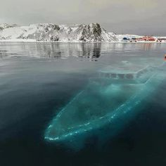 A sunken boat in the Antarctic.  The boat, which sunk on April 7, 2012, lies at a depth of about 9 meters (30 ft) in Ardley Bay, Antarctica. Thankfully the crew was completely evacuated and nobody was hurt.