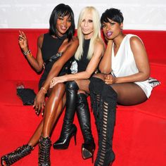 Naomi Campbell, Donatella and Jennifer Hudson at the Versus Versace after-party in 2014