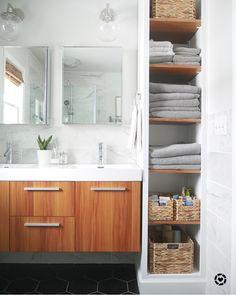 www.ourfiftiesfix... Master bathroom #masterbathroom #shelving #bathroomshelving #openshelving #DIY #modernbathroom #floatingvanity #mastersuite #bathroomstorage