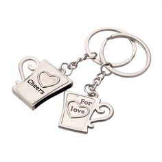 Silver Couple Key Chain Ring Keyring Keyfob Lover Gift Valentine's Day (€2,33) ❤ liked on Polyvore featuring accessories, keychain key ring, key chain rings, ring key chain, silver key chains and silver key ring