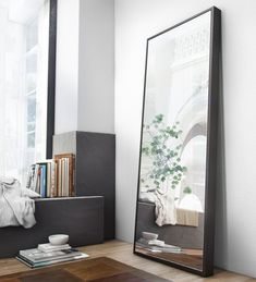 The Greene Mirror stands almost six feet tall, supported by a sturdy box frame. Display it as a traditional floor standing mirror or mount it to the wall as a horizontal fixture for a nouveau look around the home. Floor Standing Mirror, Floor Mirror, Tiled Mirror, White Mirror, Living Room Mirrors, Living Room Decor, Dresser With Mirror, Bedroom Wall, Big Mirror In Bedroom