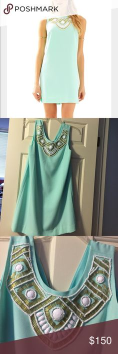 Lily Pulitzer dress Gorgeous pool side blue lily shift dress NWT! Purchased a medium but needed a small. Original $258, got on sale for $155, trying to make back most of what I bought it for so NO TRADES.... $125 shipped on ️️ Lilly Pulitzer Dresses