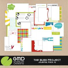 The Bliss Project: Designer Journal Cards 2 by Gina Miller Designs