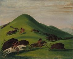 Buffalo Chase over Prairie Bluffs by George Catlin kp